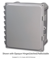 AH884 - ATTABOX - Heartland Polycarbonate Enclosure 8 x 8 x 4 inches with Opaque Cover-Hinged,Latched,Padlockable
