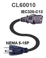 "CL60010 - Webber - 7'6"" North American Power Cord 3 Conductor 18 AWG SVT Black Jacket-10A/125V"