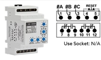 PMD575 - Macromatic - 3-phase monitor relay, 575 VAC, DIN Rail, 10 Amp DPDT relays, phase loss, reversal - fixed, unbalance, over/under voltage - adjustable