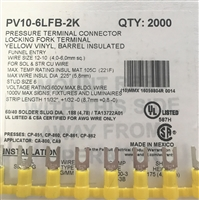 PV10-6LFB-2K - PANDUIT - Fork Terminal Locking, Yellow Vinyl Barrel Insulated, 12-10AWG, #6 Stud Size, Funnel Entry-RoHS