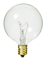 S3821 - SATCO - G16 Globe Incandescent Light Bulb Clear - Candelabra Brass Base - 120 Volt