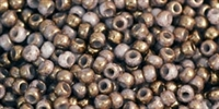 Toho 11/0 Round Gilded Marble White Seed Beads - 10 Grams