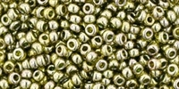 11/0 Toho 11TO457 Round Gold-Lustered Green Tea Seed Beads - 10 Grams