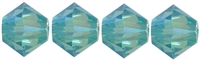 532804LTUR2AB - 4mm Swarovski Crystal Light Turquoise 2AB Bicone Crystals 25 count