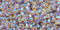 532804TOLT2AB - 4mm Swarovski Crystal Light Colorado Topaz 2AB Bicone Crystals 25 count