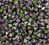 6mm Czech Glass Pyramid 2-Hole Beadstud - BST06-00030-95000 - Magic Orchid - 4 Beads