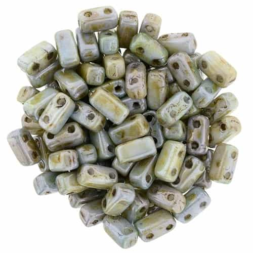 CzechMates Bricks 3x6mm - CZB-P65431 - Luster - Opaque Green - 25 Pieces