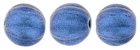 CZM5-79031 - Melon Round 5mm : Metallic Suede - Blue - 25 Beads