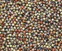 Round Beads 3mm: CZRD3-23980-98572 - Jet California Gold Rush Matted - 25 pieces