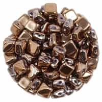 Czech Silky 2-Hole Beads 6x6mm - CZS-00030-27100 - Crystal Capri Full Gold - 25 count