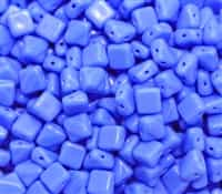 Czech Silky 2-Hole Beads 6x6mm - CZS-33100 - Opaque Blue - 25 count