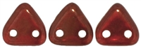 CzechMates Two Hole Trangles 6mm: CZT-LJ9008 - Silversheen - Ruby