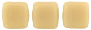 Two Hole Tile 6mm Opaque Light Beige 25 Bead Strand