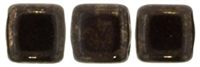 CzechMates Two Hole Tile 6mm - CZTWN06-15435 - Jet - Marbled Dark Bronze - 25 Beads