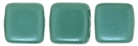 CzechMates Two Hole Tile 6mm - CZTWN06-25027 - Pearl Coat - Teal - 25 Beads