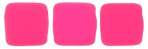 CzechMates Two Hole Tile 6mm - CZTWN06-25123 - Neon Pink - 25 Beads