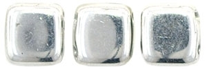 Two Hole Tile 6mm Silver 25 Bead Strand