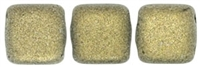 CzechMates Two Hole Tile 6mm - CZTWN06-79080 - Metallic Suede - Gold - 25 Beads