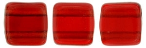 CzechMates Two Hole Tile 6mm Siam Ruby 25 Beads