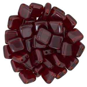 Two Hole Tile 6mm Ruby 25 Bead Strand