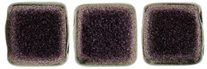 CzechMates Two Hole Tile 6mm - CZTWN06-94106 - Polychrome - Pink Olive - 25 Beads