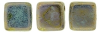 CzechMates Two Hole Tile 6mm - CZTWN06-BT63100  - Bronze Picasso - Opaque Pale Jade - 25 Beads
