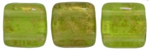 Two Hole Tile 6mm Gold Marbled Olivine 25 Bead Strand