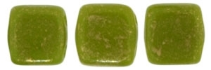 CzechMates Two Hole Tile 6mm - CZTWN06-GM53420 - Opaque Olive - Gold Marbled - 25 Beads