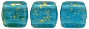 CzechMates Two Hole Tile 6mm Gold Marbled - Capri Blue 25 Beads