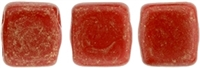 CzechMates Two Hole Tile 6mm Opaque Red - Gold Marbled 25 Beads