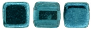 CzechMates Two Hole Tile 6mm - CZTWN06-K5513 - Mirror - Teal - 25 Beads