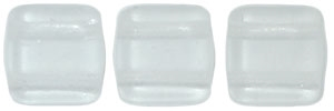 CzechMates Two Hole Tile 6mm - CZTWN06-M0003 - Matte - Crystal - 25 Beads