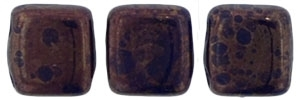 CzechMates Two Hole Tile 6mm - CZTWN06-MD33410 - Navy - Moon Dust - 25 Beads
