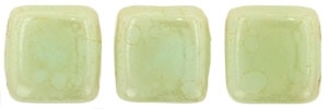 CzechMates Two Hole Tile 6mm - CZTWN06-ST63100 - Opaque - Pale Turquoise - Star Dust - 25 Beads