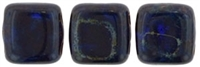 CzechMates Two Hole Tile 6mm - CZTWN06-T3009 - Cobalt - Picasso 25 Beads