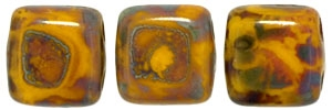 CzechMates Two Hole Tile 6mm Picasso - Opaque Yellow 25 Beads
