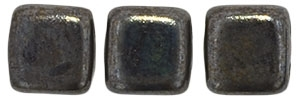 CzechMates Two Hole Tile 6mm - CZTWN06-TL13720 - Chocolate Brown - Luster Picasso - 25 Beads