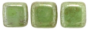 CzechMates Two Hole Tile 6mm - CZTWN06-TL53200 - Honeydew - Luster Picasso - 25 Beads