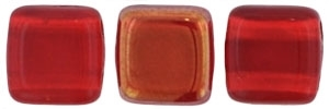 Two Hole Tile 6mm Twilight Siam Ruby 25 Bead Strand