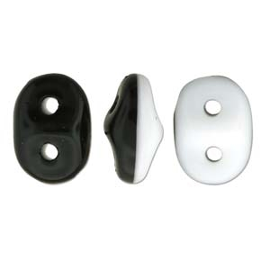 DU0503849 - SuperDuo 2.5x5mm Duets - Black/White Opaque  - 8 Grams