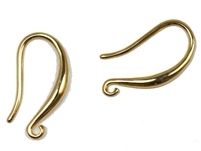 GPB18MMFOL - Gold Plated Brass 18mm Fishhook Earwires with Open Loop - 1 Pair