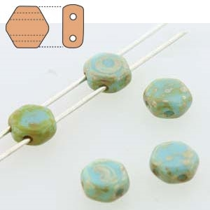 Czech 2-Hole 6mm Honeycomb Beads - HC-63030-43400 Opaque Blue Turquoise Picasso - 25 Count