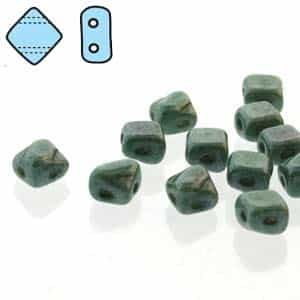 "Czech Silky 2-Hole Beads ""Mini"" 5x5mm - MiniCZS-02010-14459 - Green Luster - 40 Bead Strand"