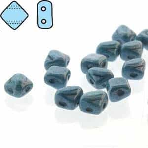 "Czech Silky 2-Hole Beads ""Mini"" 5x5mm - MiniCZS-02010-14464 - Blue Luster - 40 Bead Strand"