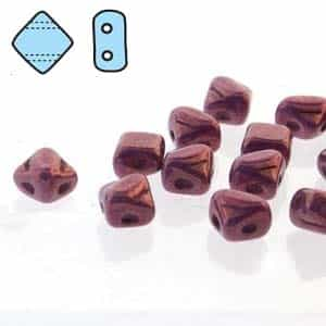 "Czech Silky 2-Hole Beads ""Mini"" 5x5mm - MiniCZS-02010-15726 - Purple Vega - 40 Bead Strand"