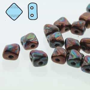 "Czech Silky 2-Hole Beads ""Mini"" 5x5mm - MiniCZS-23980-15781 - Jet Iris Luster - 40 Bead Strand"