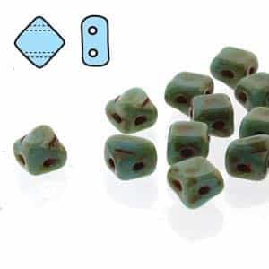 "Czech Silky 2-Hole Beads ""Mini"" 5x5mm - MiniCZS-63030-86800 - Blue Turquoise Travertin - 40 Bead Strand"