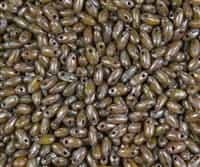 Lime Dark Tavertin Czech Rizo Seed  Beads - 8 Grams