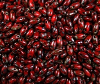 Opaque Red Picasso Czech Rizo Seed Beads - 8 Grams