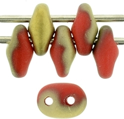 SuperDuo 2/5mm : 8 Grams - TSD-FG9320 - Fool's Gold -  Opaque Red